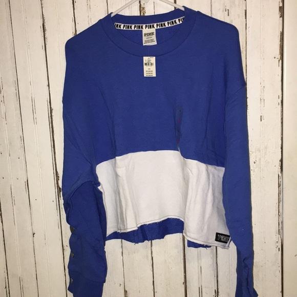 37d30f1fbcf PINK Victoria's Secret Tops | Sale Nwt Pink Blue Crop Long Sleeved ...